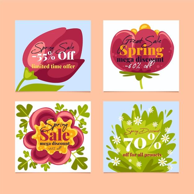 Frühlingsverkauf instagram beitragssammlung mit zusammenstellung von blumen Kostenlosen Vektoren