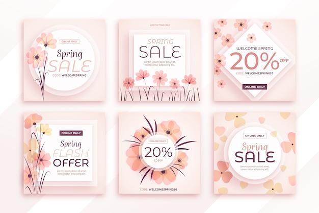 Frühlingsverkauf instagram beitragssammlung Kostenlosen Vektoren