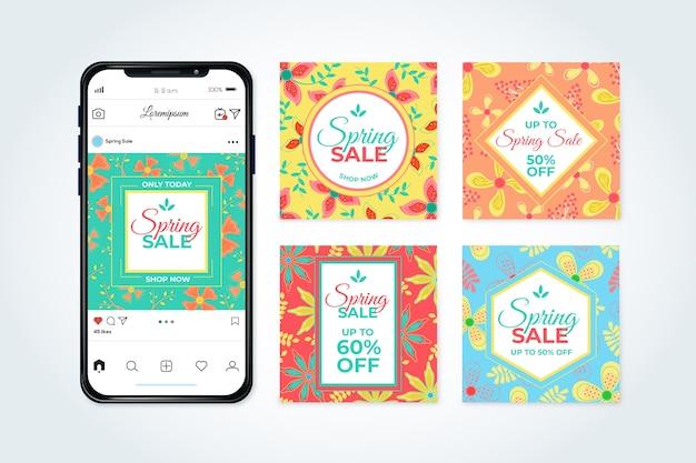 Frühlingsverkauf instagram beitragssammlungsthema Kostenlosen Vektoren