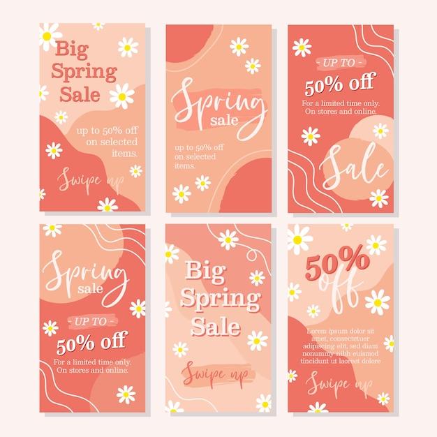 Frühlingsverkauf instagram geschichtenansammlung Kostenlosen Vektoren