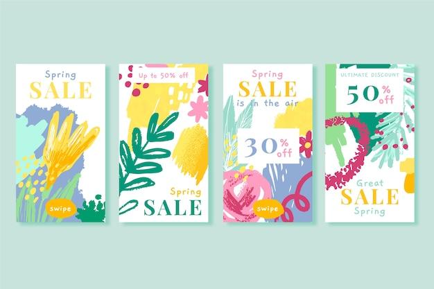 Frühlingsverkauf instagram geschichtensammlung mit hand gezeichneten blumen Kostenlosen Vektoren