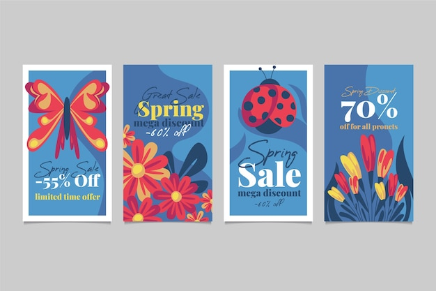 Frühlingsverkauf instagram geschichtensammlung mit schmetterlingen und marienkäfern Kostenlosen Vektoren