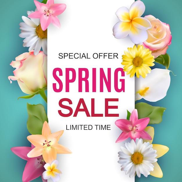 Frühlingsverkauf nette fahne mit blumen Premium Vektoren