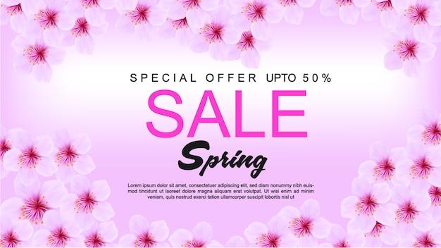 Frühlingsverkaufs-fahnendesign mit blumen auf rosa hintergrund Premium Vektoren