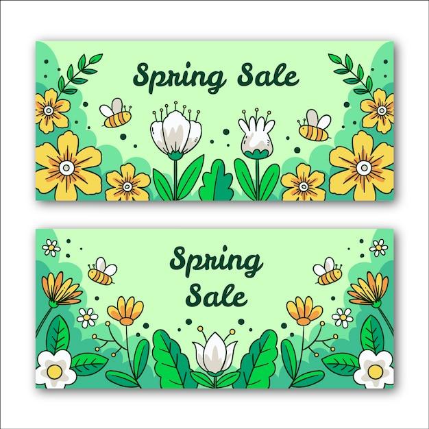 Frühlingsverkaufsbanner mit blumen und bienen Kostenlosen Vektoren