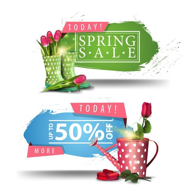 Frühlingsverkaufsbanner mit knöpfen Premium Vektoren
