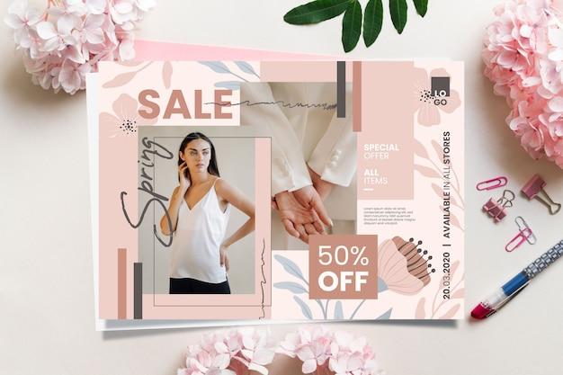 Frühlingsverkaufsbanner mit sonderangebot Kostenlosen Vektoren