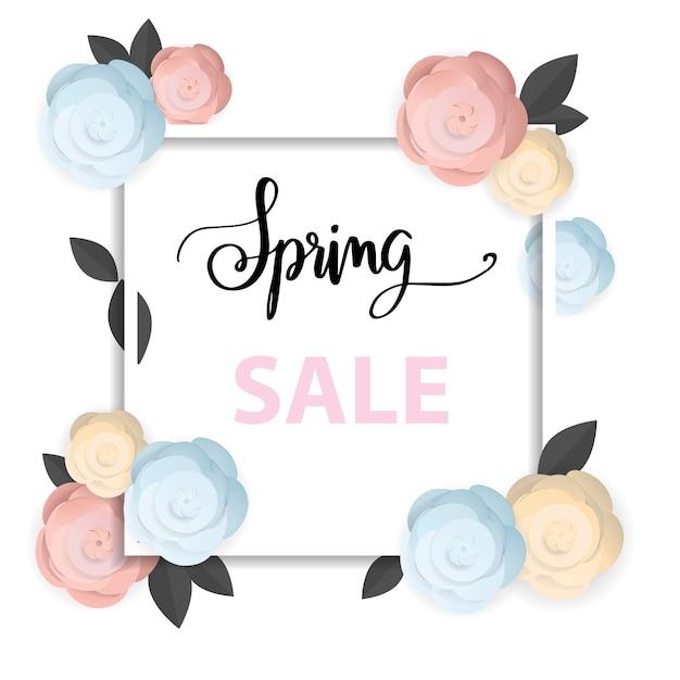 Frühlingsverkaufsfahne, blumenfrühling Premium Vektoren