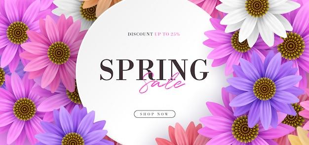 Frühlingsverkaufsfahne mit bunten realistischen 3d blumen Premium Vektoren