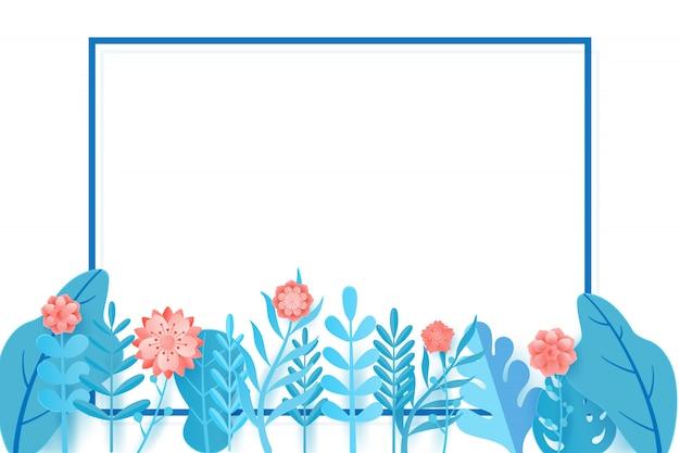 Frühlingsverkaufsfahnen-designblätter und -blume. Premium Vektoren