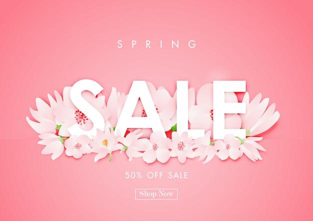 Frühlingsverkaufshintergrund mit kirschblüten-blumenvektor Premium Vektoren