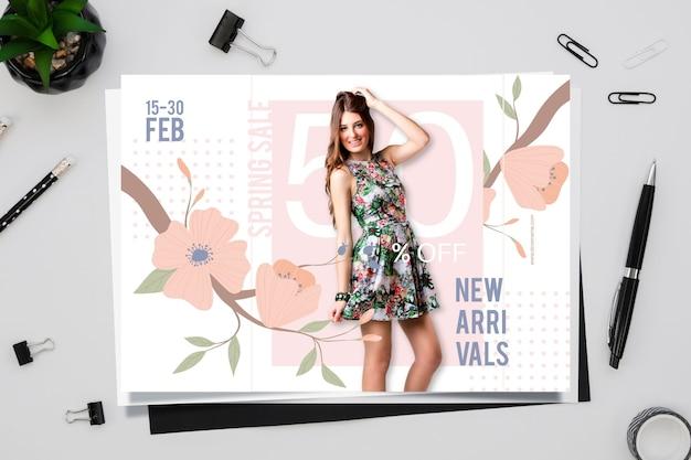 Frühlingsverkaufskonzept mit kalender Kostenlosen Vektoren