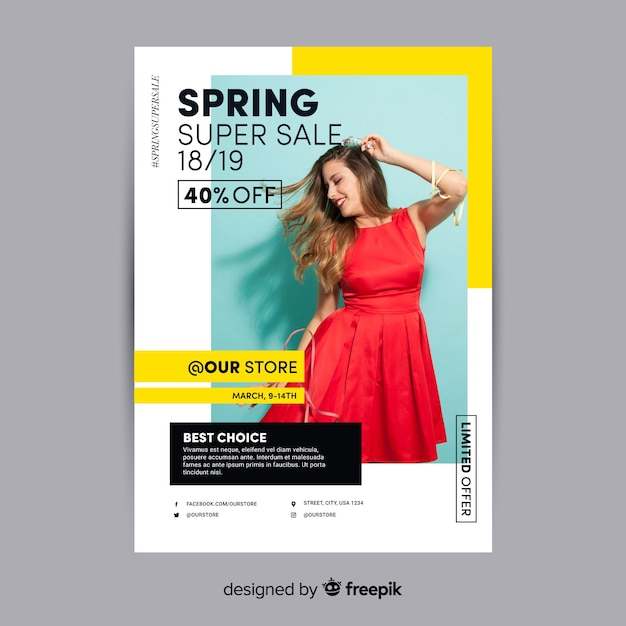 Frühlingsverkaufsplakat fotografisch Kostenlosen Vektoren