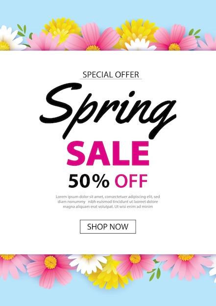 Frühlingsverkaufsplakatfahne mit dem blühen blüht hintergrund Premium Vektoren