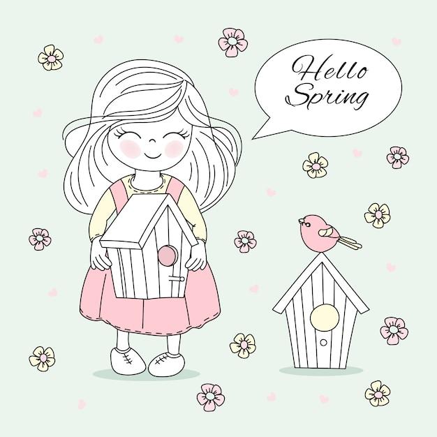 Frühlingszeit bloom natur saison vektor illustration set Premium Vektoren