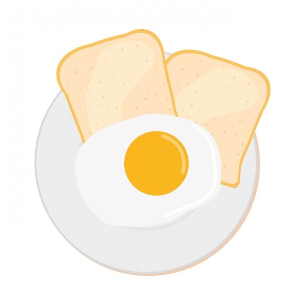Frühstück essen mit ei und toast, ansicht von oben Kostenlosen Vektoren