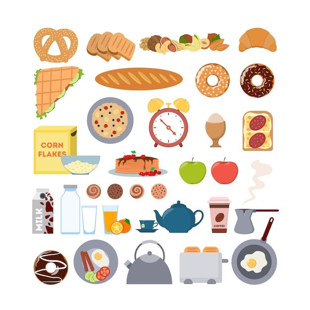 Frühstück essen und artikel gesetzt. brot und eier, wecker und toaster. Premium Vektoren