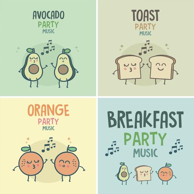 Frühstück Guten Morgen Party Musik Download Der Premium Vektor