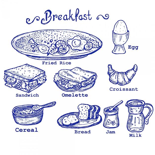 Frühstück kritzeleien Premium Vektoren