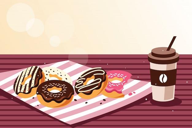 Frühstück mit donuts und kaffee Premium Vektoren