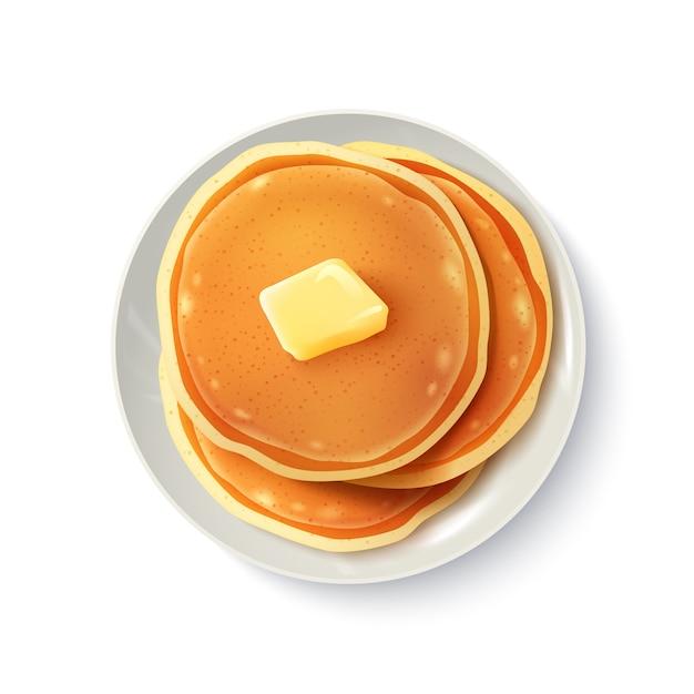 Frühstück realistische pfannkuchen-draufsicht-bild Kostenlosen Vektoren