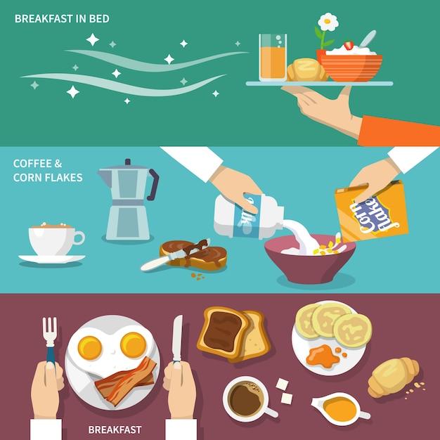 Frühstücks-banner-set Kostenlosen Vektoren