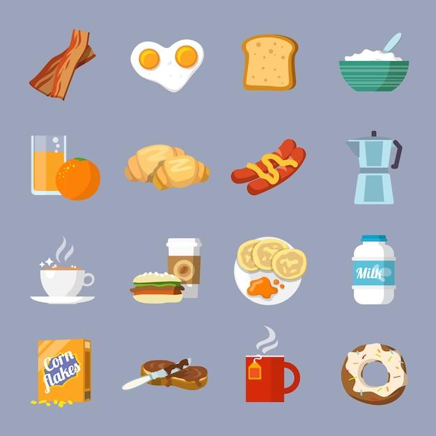 Frühstücks-symbol flach Kostenlosen Vektoren