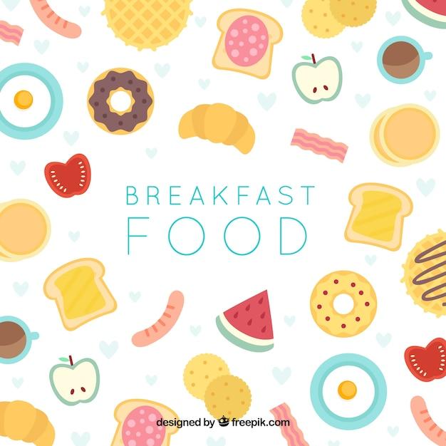 Frühstückshintergrund mit flachem design Kostenlosen Vektoren