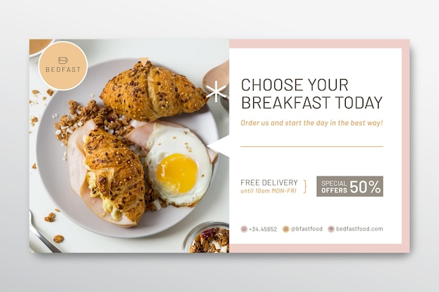 Frühstücksrestaurant-bannerschablone Kostenlosen Vektoren