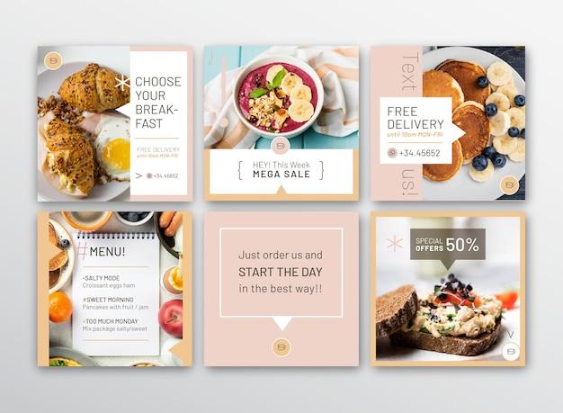 Frühstücksrestaurant instagram post sammlung Kostenlosen Vektoren