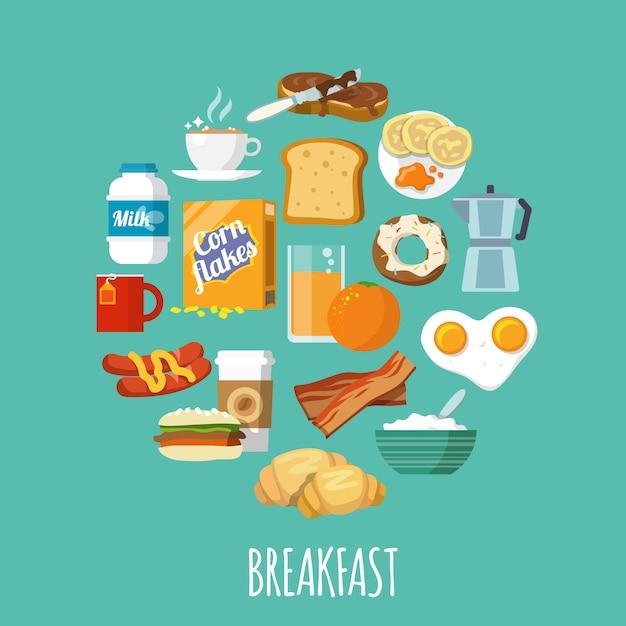 Frühstückssymbol flach Kostenlosen Vektoren