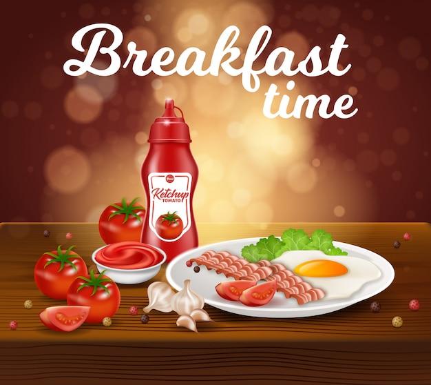 Frühstückszeit, rührei, speck und ketchup Premium Vektoren