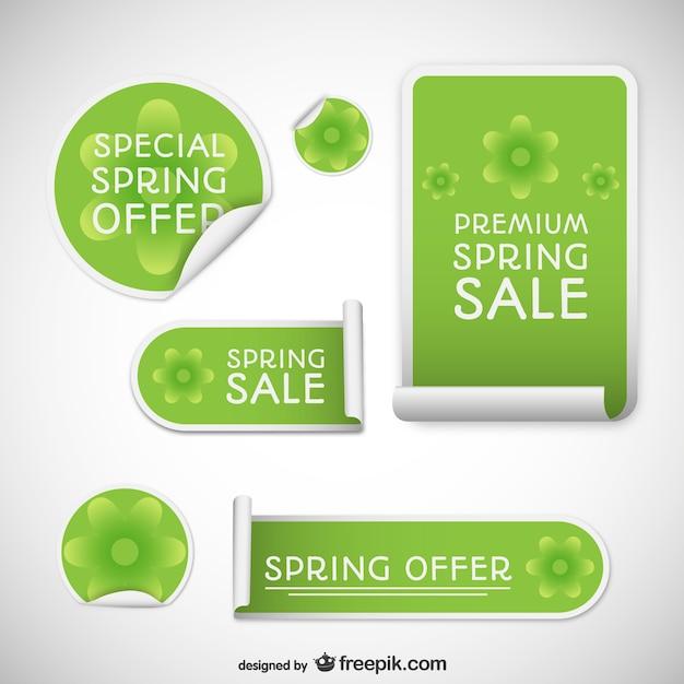 Frühling Verkaufsmarken Kostenlose Vektoren