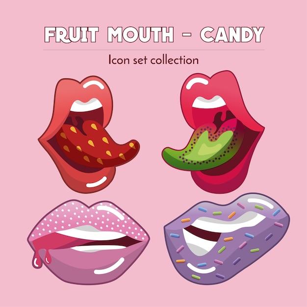 Fruit mouth & candy - icon-set-sammlung Premium Vektoren