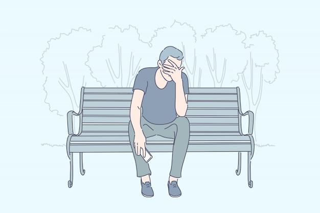 Frustration, emotionaler stress, depressionskonzept Premium Vektoren