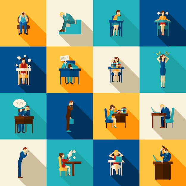 Frustration icons flat set Kostenlosen Vektoren
