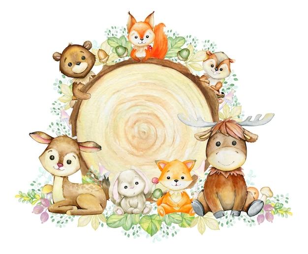 Fuchs, hirsch, streifenhörnchen, kaninchen, elch, bär und eichhörnchen. aquarell-waldtiere, auf einem hölzernen hintergrund, in einer karikaturart. Premium Vektoren