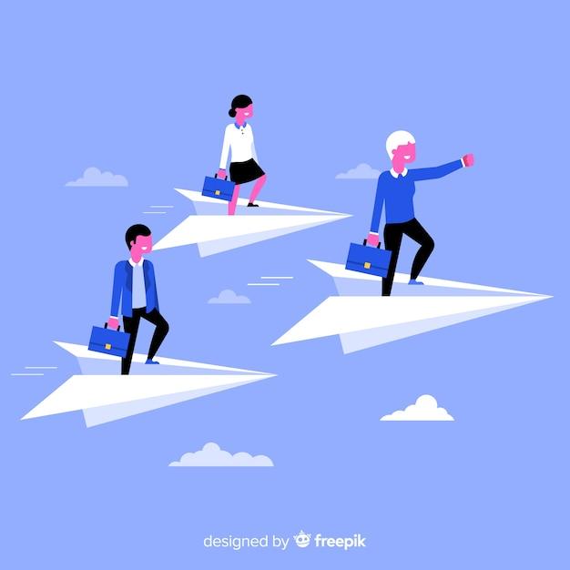 Führung konzept und papierflieger Kostenlosen Vektoren