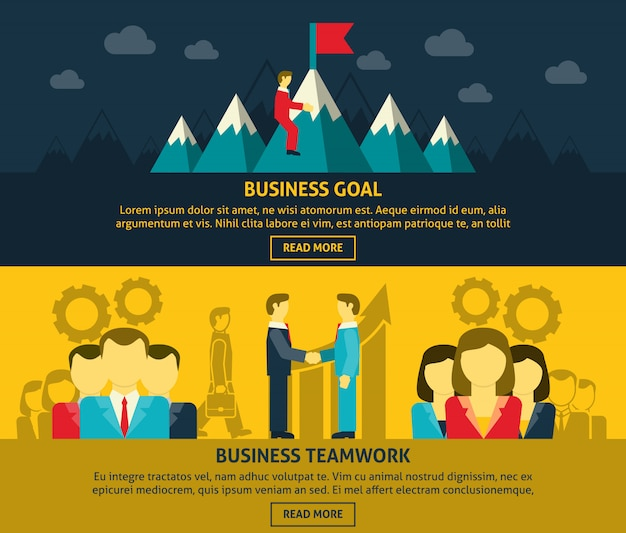Führung und business banner gesetzt Kostenlosen Vektoren
