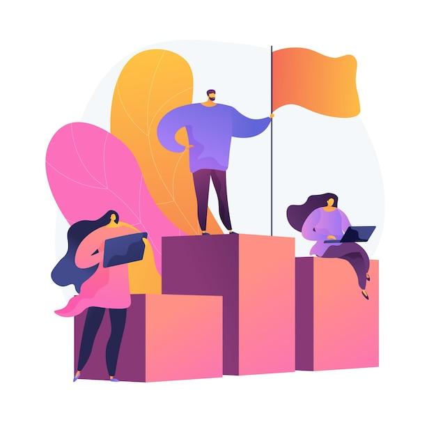 Führung und erfolg. bester arbeiter auf sockel. leistung, entwicklung, motivation. mitarbeitercharakter, der auf balkendiagramm mit flagge steht. Kostenlosen Vektoren