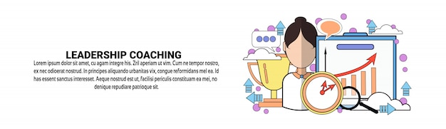 Führungs-coaching-geschäfts-trainings-konzept-horizontale fahnenschablone Premium Vektoren