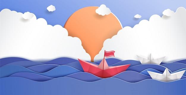 Führungskonzept und origami machten rotes papierboot. Premium Vektoren