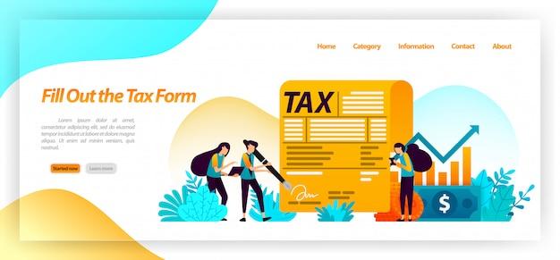 Füllen sie das zahlungsformular für steuerrechnungen aus. jährliches einkommen, geschäft, eigentum an finanziellen vermögenswerten. zielseiten-webvorlage Premium Vektoren