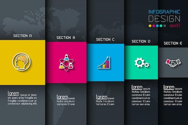 Fünf etiketten mit geschäftsikoneninfografiken. Premium Vektoren