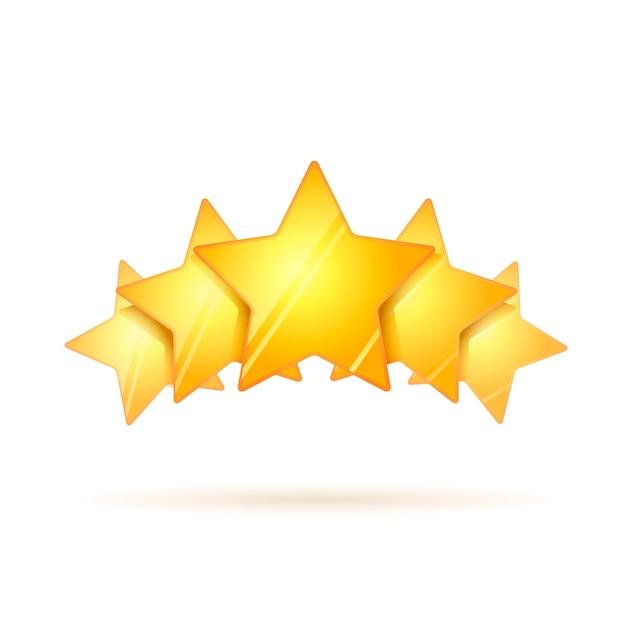 Fünf glatte goldene bewertungssterne mit dem schatten lokalisiert Premium Vektoren