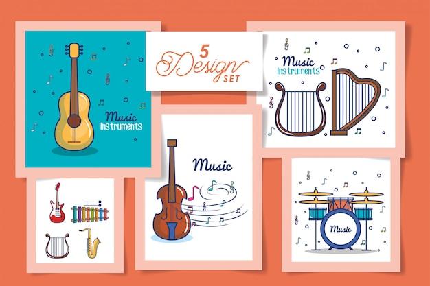 Fünf karten mit instrumenten musikikonen Premium Vektoren