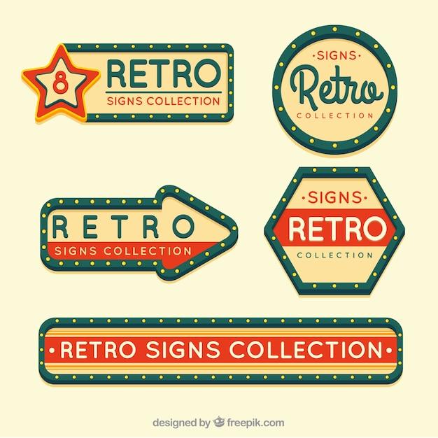 Fünf outdoor-zeichen, vintage-stil Kostenlosen Vektoren
