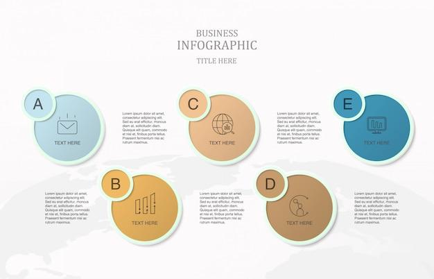 Fünf prozess infografik für business-konzept. Premium Vektoren