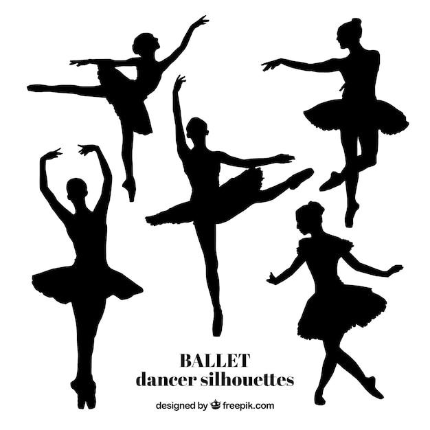 Fünf realistische balletttänzer silhouetten Premium Vektoren