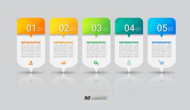 Fünf schritte infografiken vorlage Premium Vektoren